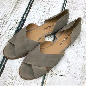 Lucky Brand Gallah Flat Sandal Sz 8.5 Gray/Tan